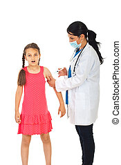 Doctor vaccine scared girl