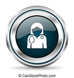 Doctor vector icon. Chrome border round web button. Silver...