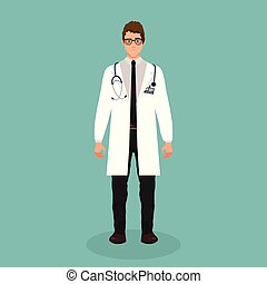 Doctor vector illustration in flat design isolated on blue background