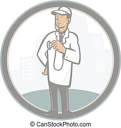 Doctor Veterinarian Vet With Stethoscope Cartoon