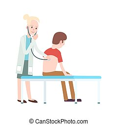 Doctor visit in clinic icon
