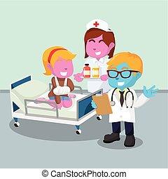 Doctor visiting patient illustration design