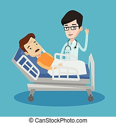 Doctor visiting patient vector illustration. - Young happy...