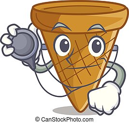 Doctor wafer cone character cartoon
