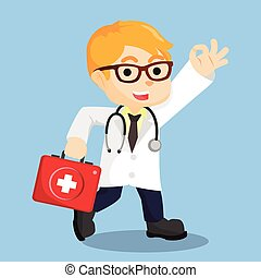 doctor walking cartoon illustration