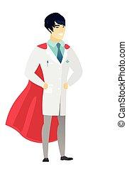 Doctor wearing a red superhero cloak.