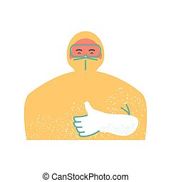 doctor wearing protective suit face mask and thumb up gesture