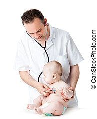 Doctor with a baby on a white background