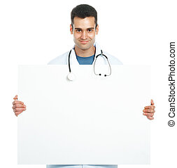 doctor with a board