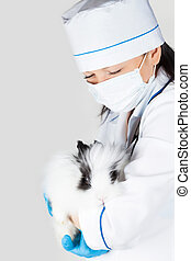 doctor with a decorative white rabbit