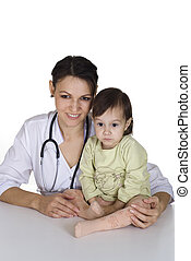 doctor with a good kid with