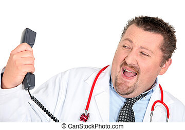 Doctor with a phone