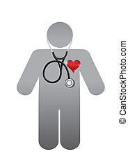 doctor with a red heart. illustration design