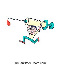 doctor with a syringe. cartoon vector illustration, on white background
