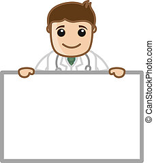 Doctor with Ad Banner Vector - Drawing Art of Cartoon Doctor...