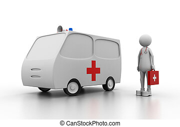 Doctor with ambulance. (Health care concept)