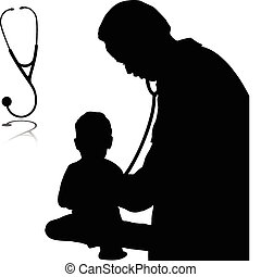 doctor with baby vector silhouettes