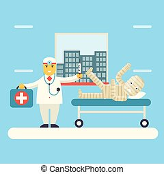 Doctor with Bandaged Patient characters Icon Health...