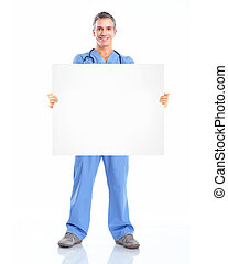 Doctor with banner.