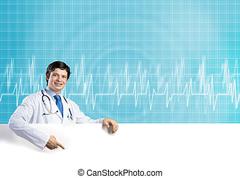 Doctor with banner - Young handsome doctor holding white...