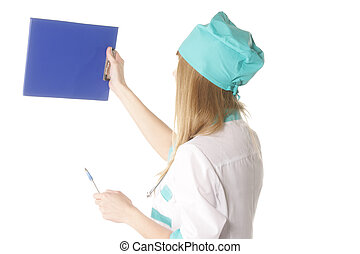 Doctor with blue cardboard