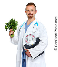 Doctor with body scales and parsley.