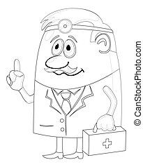 Doctor with case, contour