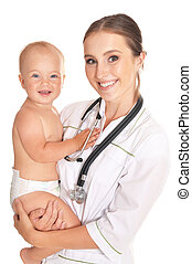 Doctor with child in hospital
