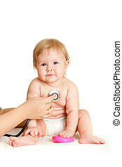 Doctor with child on a white background
