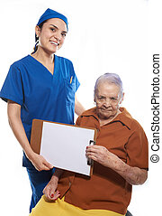 doctor with clipboard and old patient