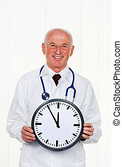 doctor with clock 11:55
