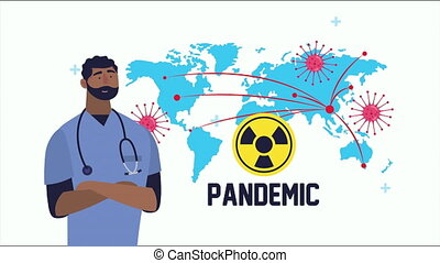 doctor with covid19 particles and earth planet