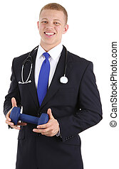 Doctor with dumbell