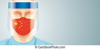 Doctor with face shield and China flag mask