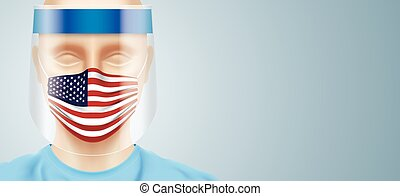Doctor with face shield and USA flag surgical mask