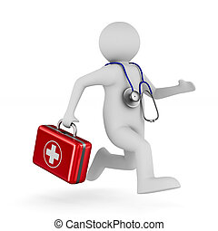 Doctor with first aid kit on white background. Isolated 3D illustration