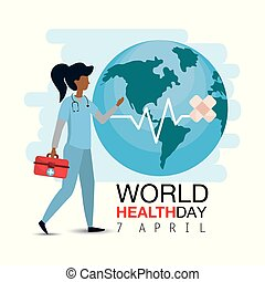 doctor with first aid to world health day