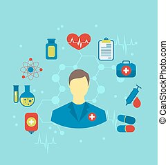 Doctor with flat medical icons for web design