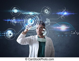Doctor with futuristic touchscreen interface - Doctor...