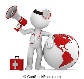Doctor with globe and megaphone. Americas side