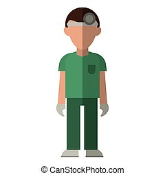 doctor with head mirror and green uniform surgeon
