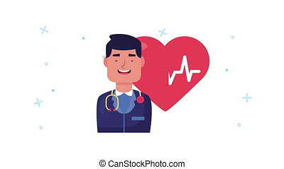 doctor with heart cardio animation