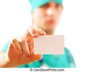 Doctor with his business card