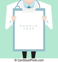 Doctor with lab coat holding a clipboard showing a blank ...
