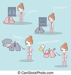 doctor with lung problem - cute cartoon doctor with lung...