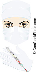 Doctor with medical thermometer. Vector illustration