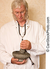 Doctor with mortar and pestle
