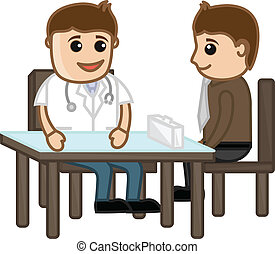 Doctor with Patient in Clinic - Drawing Art of Cartoon...