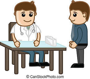 Doctor with Patient Medical Cartoon