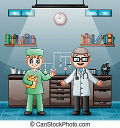 Doctor with professional chemist in the laboratory room